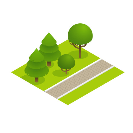 sidewalk: Park concept with trees and sidewalk in 3d flat isometric style. Vector illustration. Illustration