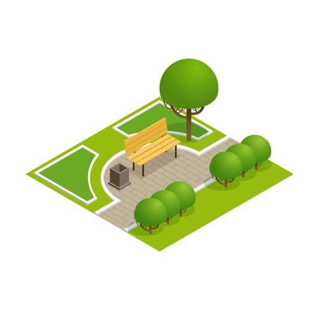 town square: Park concept with trees, bench and sidewalk in 3d flat isometric style. Vector illustration.