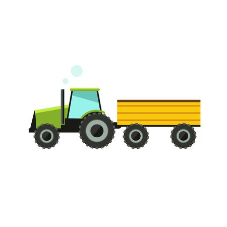 labranza: icono del vector tractor plana. Tractor icono del arte fondo blanco.