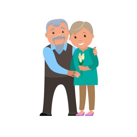 Couple heureux grands-parents sourient. Vector cartoon illustration. Vecteurs