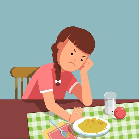 음식을 거부 어린 소녀, 아이는 먹고 싶지 않습니다. 소녀는 테이블에 앉아 식사를하지 않습니다