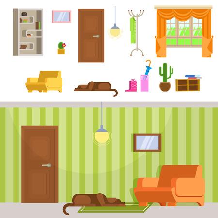 episode: Interior hallway room design with door and floor hanger. Set of detailed interior room flat. Lying dog in interior room. Interior hallway room in green and brown colors.