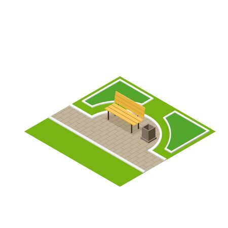 grass isolated: Vector illustration of a park bench with litter bin. Flat 3d isometric park bench and isometric park elements. Park city concept vector isometric Illustration