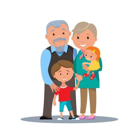 Grootouders familie met kleinkinderen geïsoleerd. Cartoon paar grootouders met kinderen. vector illustratie