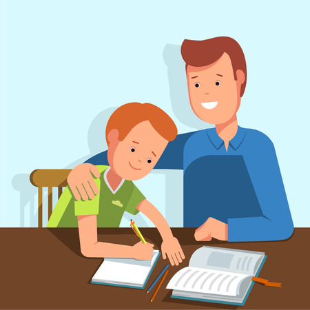 wrote: Kid learning lessons with dad. Vector illustration of a child wrote in a school notebook lessons