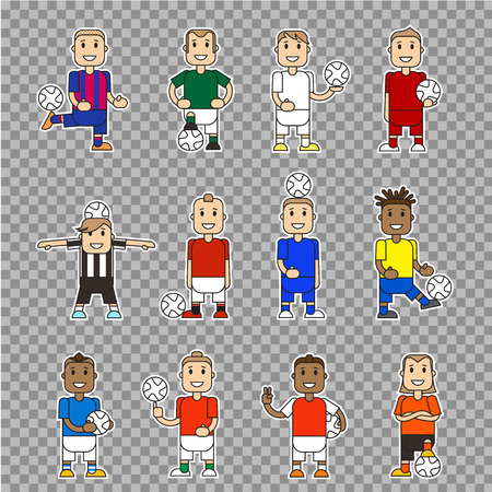 soccer players: Set character soccer players football team standing isolated. Vector flat illustration football player posing with the ball in different team uniforms. Ball in hands, hits ball with foot.