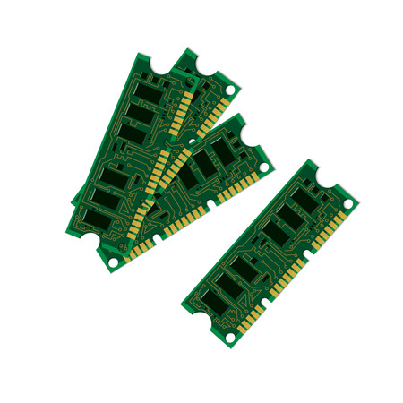 electronic background: Vector illustration set electric circuit board, various IC chips and electronic components. Green RAM memory chip on white background. Circuit board isolated