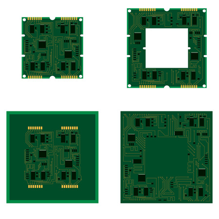 Vector illustration set electric circuit board background