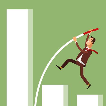 idea hurdle: Businessman doing pole vaulting for success. Vector illustration concept businessman achieving success