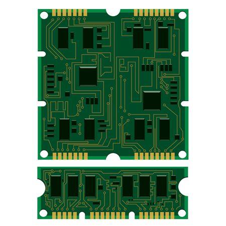 벡터 일러스트 레이 션 전기 회로 보드, 다양한 IC 칩과 전자 부품을 설정합니다. 흰색 배경에 녹색 RAM 메모리 칩. 회로 기판 절연 다른