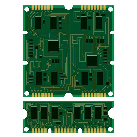 Vector illustration set electric circuit board, various IC chips and electronic components. Green RAM memory chip on white background. Circuit board different isolated