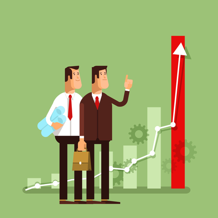 look up: The Team. Reaching results. Businessmen look up on the chart success. Business concept Illustration