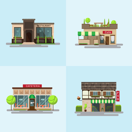 cafeteria: set of detailed flat design city public buildings. Restaurants and cafe, cafeteria, coffee house and bub facade icons on white background