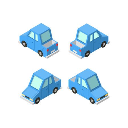 rear: isometric icon set or infographic element set representing private cars, cartoon pickup car with front and rear views. Illustration