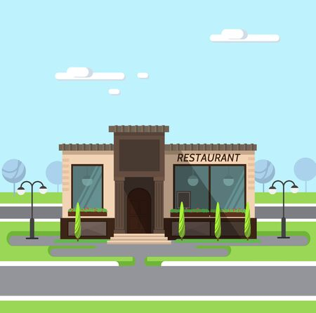 architectural lighting design: Stock illustration city street with restaurant flat style element for infographic, website, icon, games, motion design, video