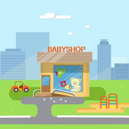 toy shop: City background with shop building, street. flat illustration of city streets with toy shop