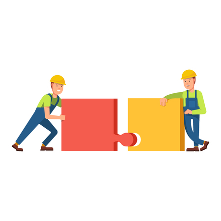 carries: Builders construct the building of puzzles, truck carries building blocks on scene. Building construction of puzzles. Flat concept illustration