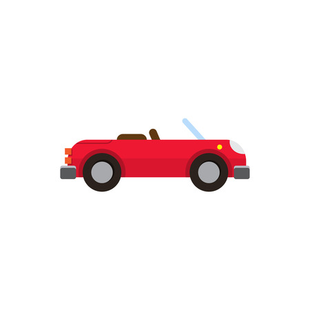 coupe: illustration red sports convertible flat style on white background isolated Illustration