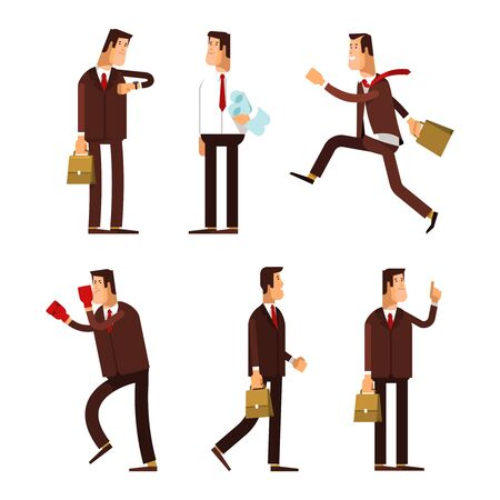 Set of businessman characters poses. Office worker runs, stands with documents in hand, the businessman with the idea