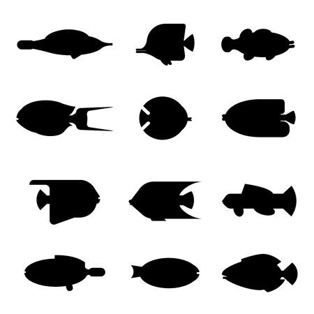butterflyfish: Tropical fish silhouette collection on white background. flat illustration sea fish icon silhouette style. Design various aquarium fish silhouette set isolated Illustration