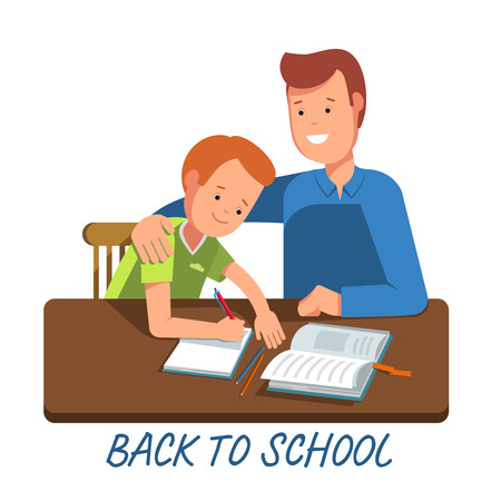 wrote: Kid learning lessons with dad. illustration of a child wrote in a school notebook lessons. Flat illustration concept back school