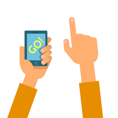playing video game: flat illustration of set phones in the hands. Concept of design playing video game