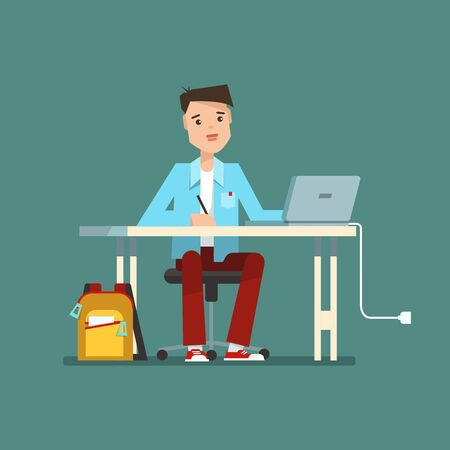 1 school bag: Young school boy sitting at the table with laptop. illustration of education concept