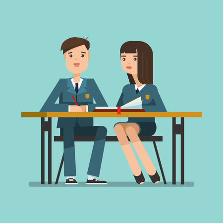 young schoolgirl: Couple of teenagers young students in school uniform at the desk. Couple of schoolboy and schoolgirl sitting at the table in the classroom.illustration of education concept