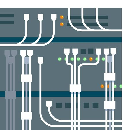 nas: illustration of server rack blue background
