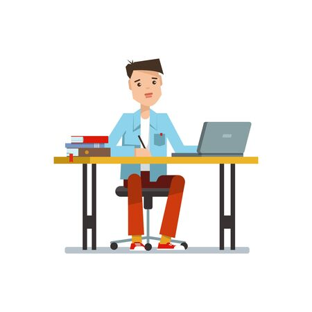 1 school bag: Young school boy sitting at the table with laptop. Illustration