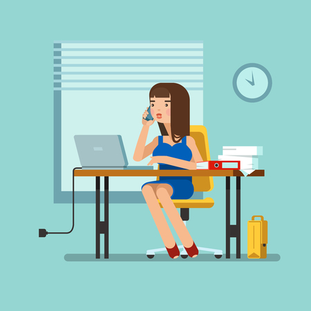 talks: illustration of secretary sitting at the table, working workplace with office papers, laptop, talks on phone in office. Design concept of the secretary or administrator in office workplace Illustration