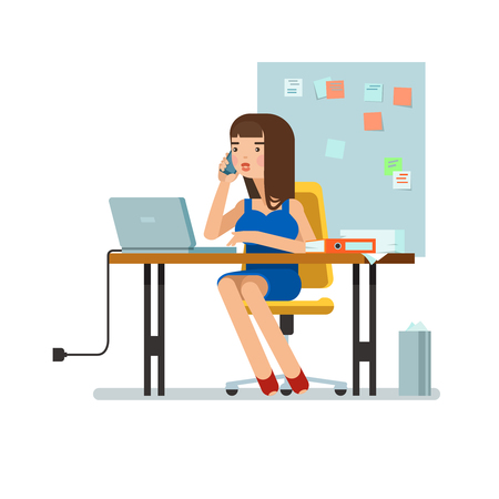 administrator: illustration of secretary sitting at the table, working workplace with office papers, laptop, talks on phone in isolated. Design concept of the secretary or administrator in office workplace Illustration