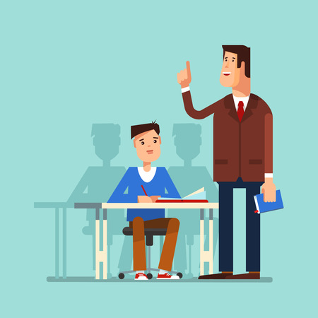 teaches: illustration of a school boy sitting at a school desk and teacher in the classroom. The teacher teaches a lesson for students or school boyon a blue background. The design concept of education Illustration