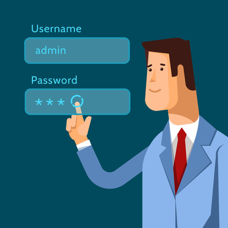 username: Vector illustration admin pushing username and password fields login box Illustration