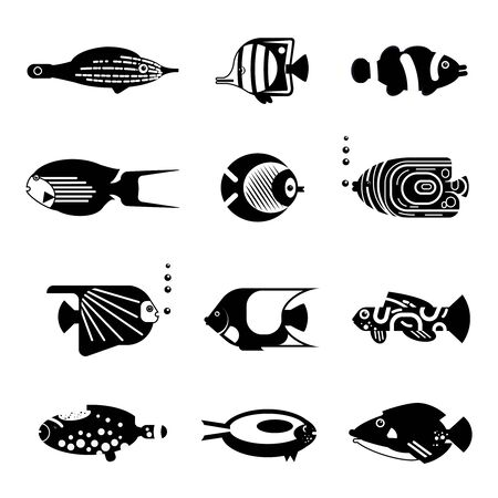 isolation: Vector flat illustration silhouette sea tropical various aquarium fish icon on isolation. Illustration