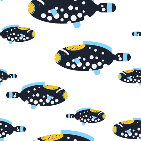 picasso: Vector flat illustration seamless pattern Picasso Triggerfish sea tropical fish on white background. Illustration