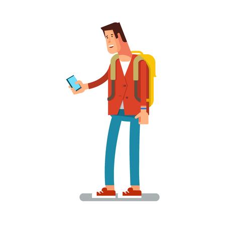 그녀의 손에 휴대 전화와 함께 젊은 도시 남성, 현대적인 옷의 벡터 평면 그림입니다. 십 대 전화 통화 또는 격리 된 메시지를 작성 일러스트