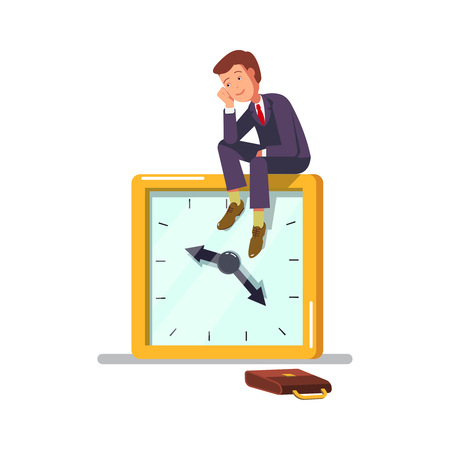 procrastination: Vector illustration of the concept of procrastination. Office worker businessman sitting on a clock, procrastinate, dreams wasting time.