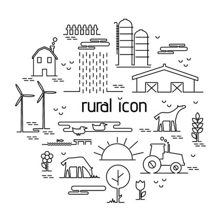 adjusting: Thin line flat design rural landscape icon. Set elements with house and wind mill,tractor, sun and farm animals. Vector illustration icons style thin lines with possibility adjusting thickness of line Illustration