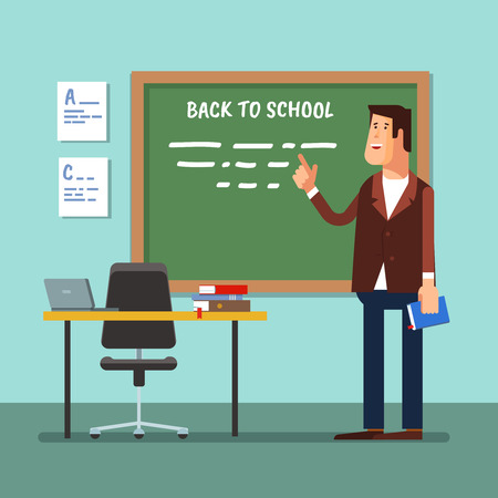 Vector illustration of a teacher in the classroom at the blackboard explaining the lesson or lecture