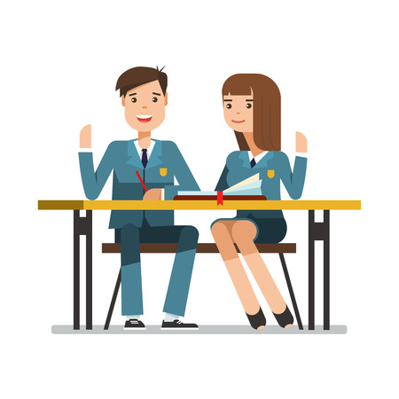 young schoolgirl: Couple of smiling teenagers young students in school uniform at the desk. Happy schoolboy and schoolgirl sitting and raised his hand in the classroom. Vector illustration of education concept