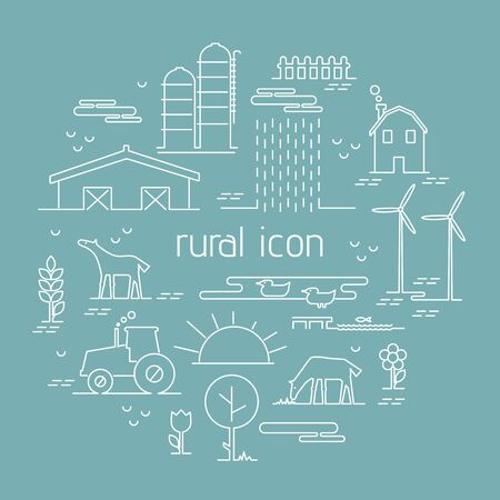 possibility: Thin line flat design rural landscape icon. Set elements with house and wind mill,tractor, sun and farm animals. Vector illustration icons style thin lines with possibility adjusting thickness of line Illustration