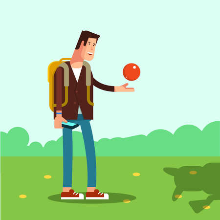 young man standing: Happy young man standing outdoor with phone in hand and ball. Concept of design playing video game Illustration
