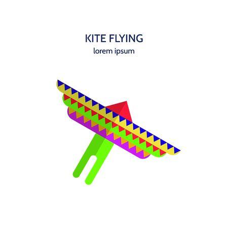 kite flying: Vector illustration icon colored kite flying on white background. Logo design kite flying isolated