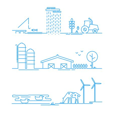 thickness: Landscape rural icons in thin line style with possibility adjusting thickness of line, flat design. Vector illustration Illustration