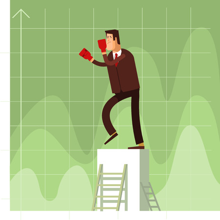 competitors: Businessman in red boxing gloves protected against business competitors. Vector flat illustration of a business concept competition background