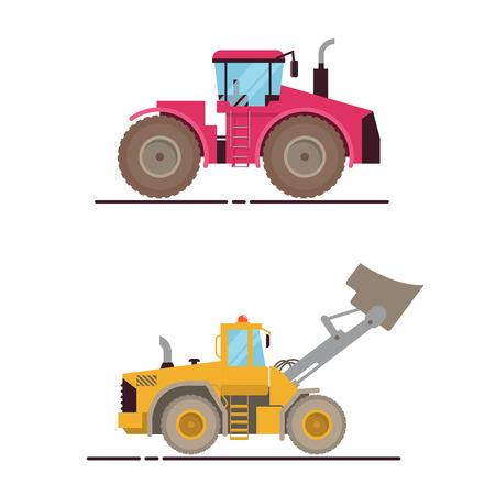 Vector Set Illustration Farm Equipment Tractor, Loader On White Background. Big Car Illustration