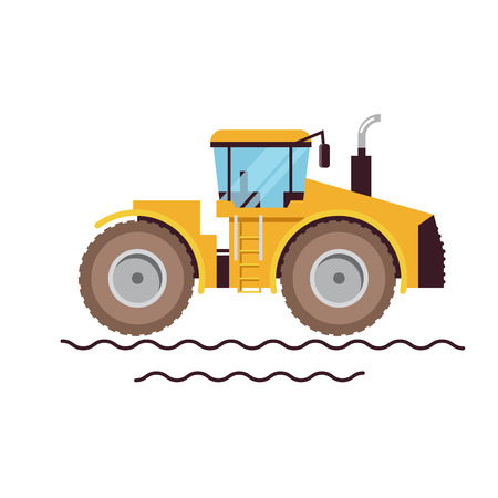Vector Illustration Farm Equipment Tractor On White Background. Big Car. Agricultural machinery. Illustration