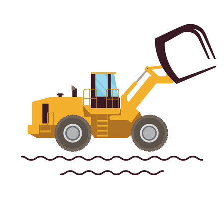 Vector Illustration Farm Equipment Tractor Loader On White Background. Big Car. Agricultural machinery.