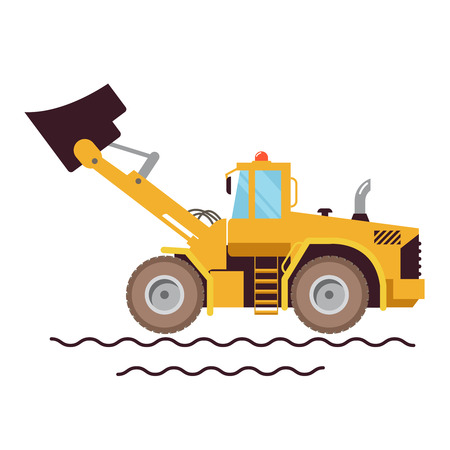 agricultural equipment: Vector Illustration Farm Equipment Tractor Loader On White Background. Big Car. Agricultural machinery.